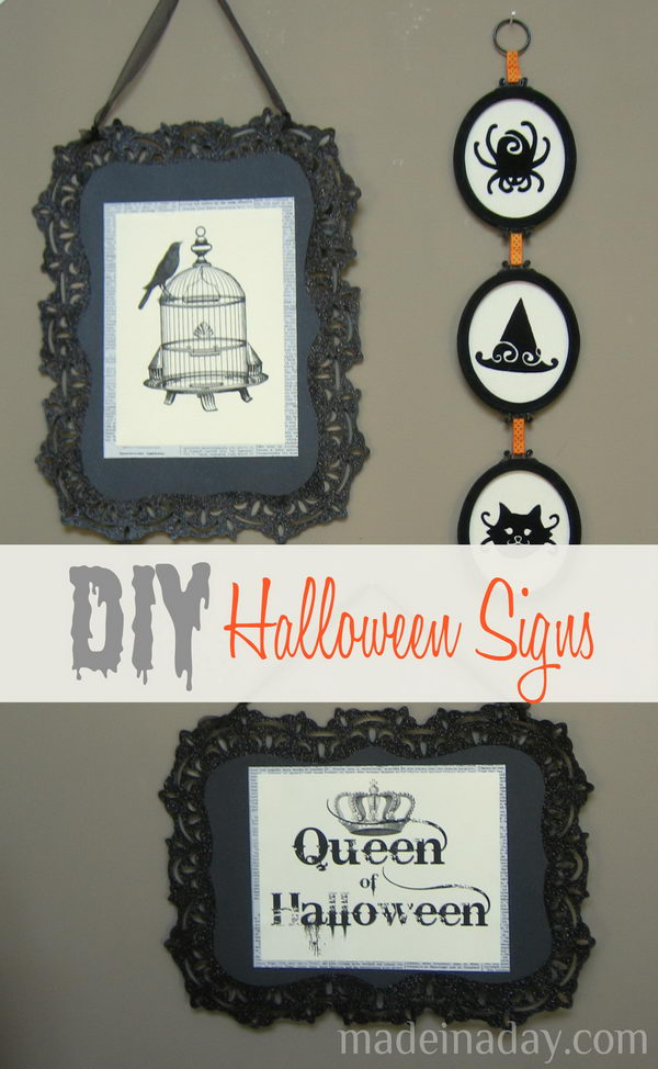 DIY Halloween Signs.