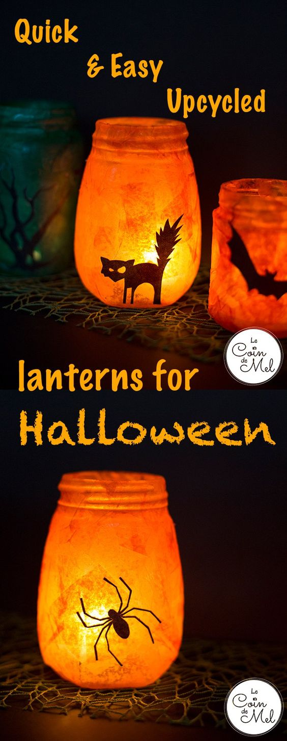 Upcycled Halloween Lanterns.