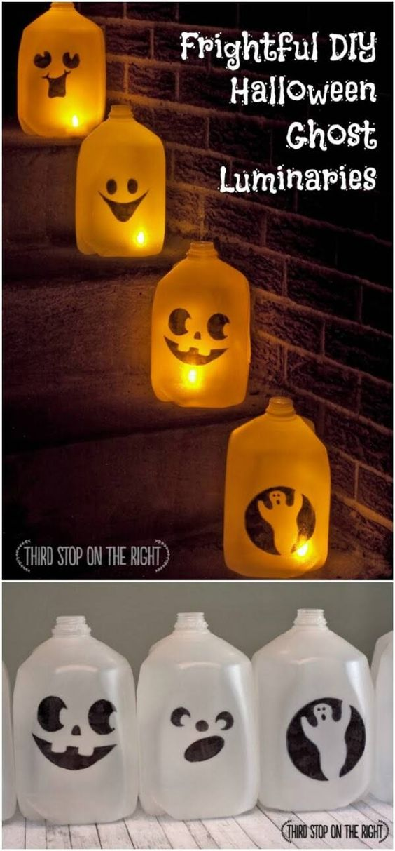 DIY Milk Jug Ghost Luminaria.