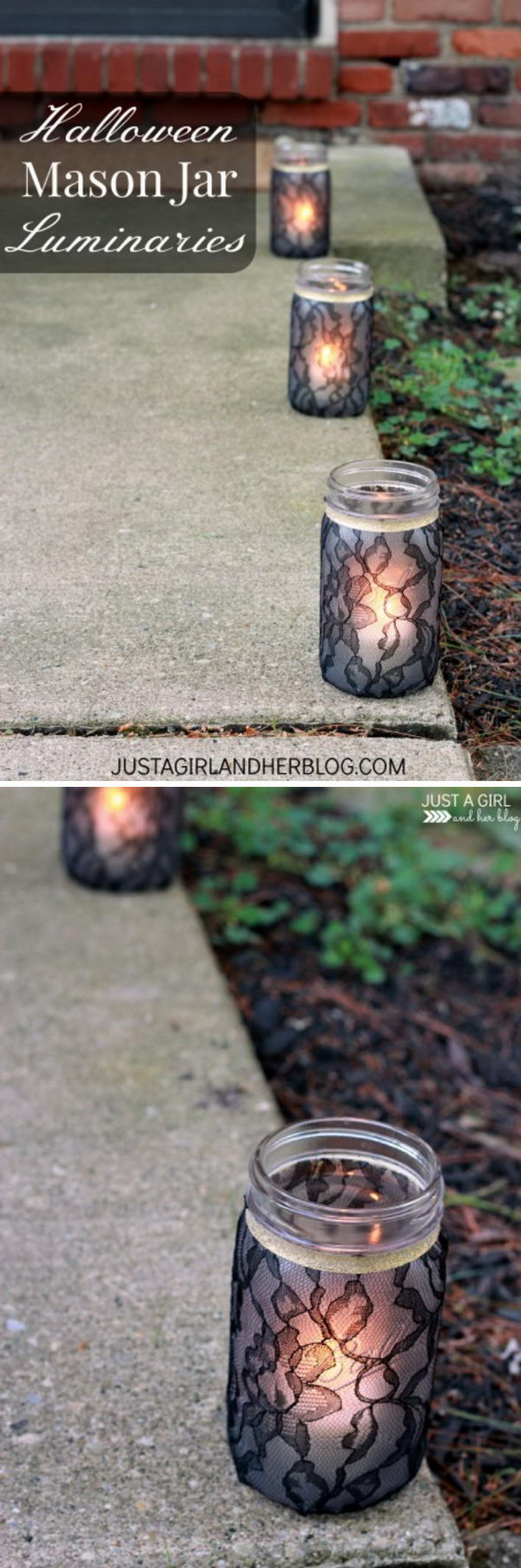 Halloween Black Lace Covered Mason Jar Luminaries.
