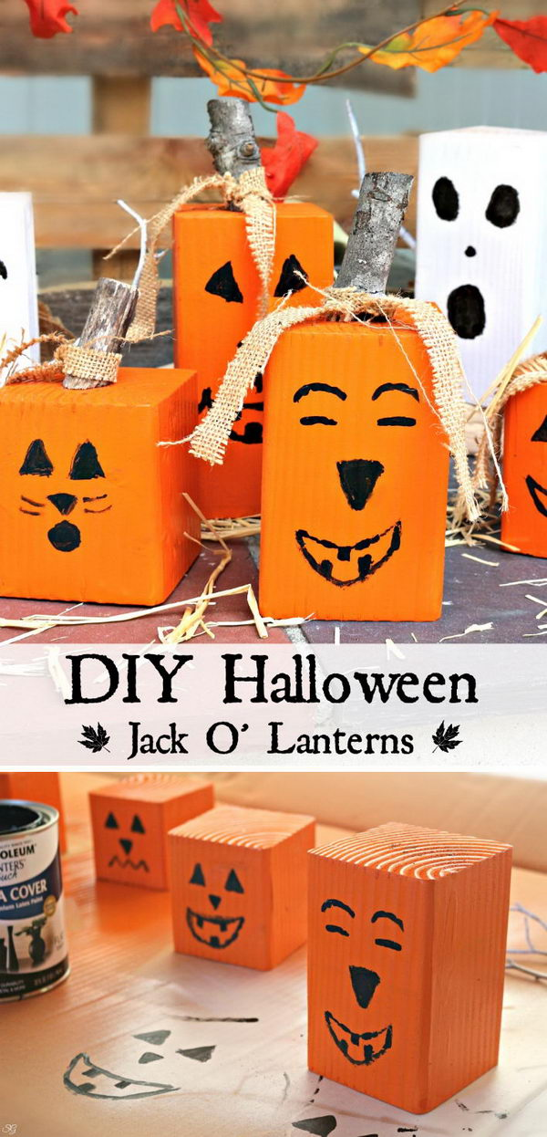 DIY Wood Pumpkin Jack O Lanterns.