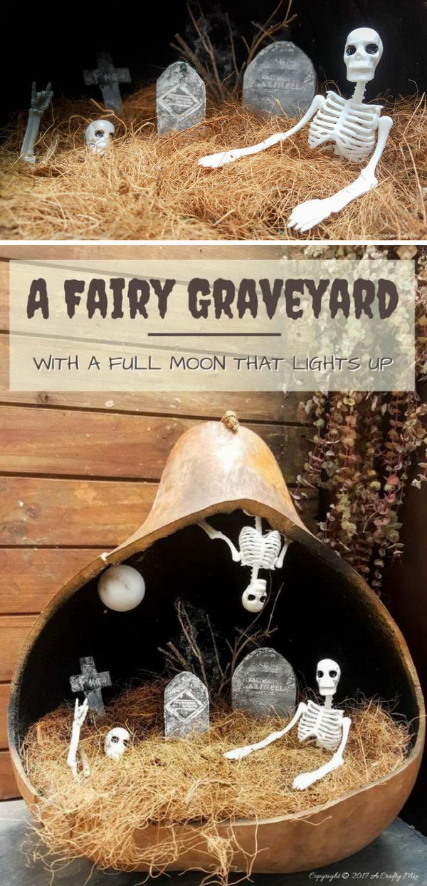 Halloween Graveyard In A Plastic Pumpkin.