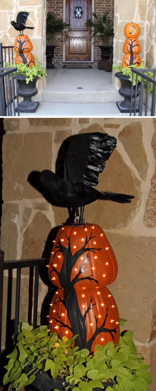 DIY Stacked Pumpkin Topiaries.