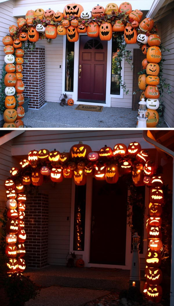 DIY Illuminated Pumpkin Arch.