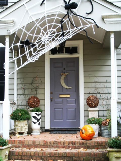 Giant Spiderweb Halloween Front Door Decor.