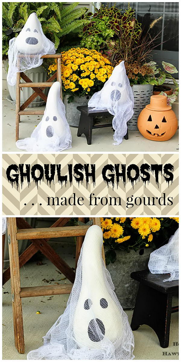 Halloween Ghosts Made From Gourds.