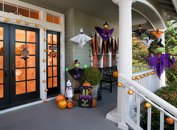 Kids Friendly Front Porch With Witch And Ghosts.