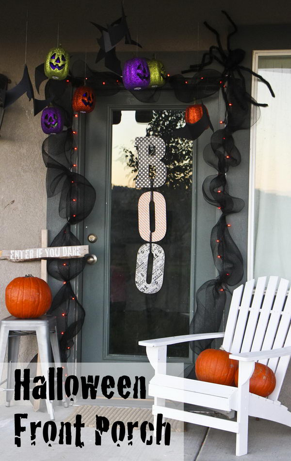 Halloween Deco Mesh Garland For The Front Door.