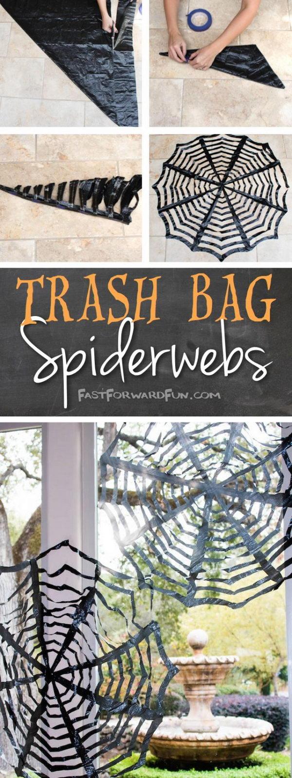DIY Trash Bags Spiderwebs.
