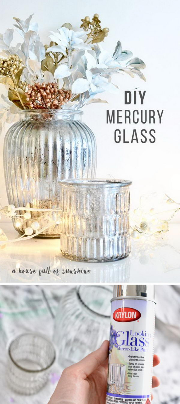 DIY Mercury Glass Centerpiece.