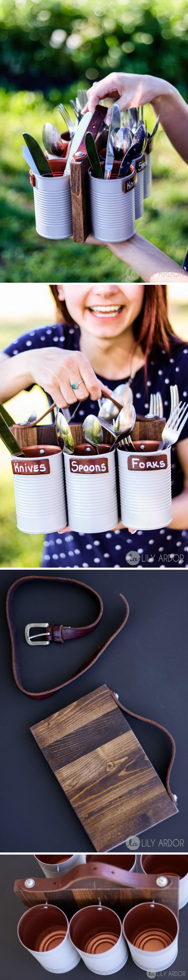 DIY Silverware Caddy Using Painted Cans.
