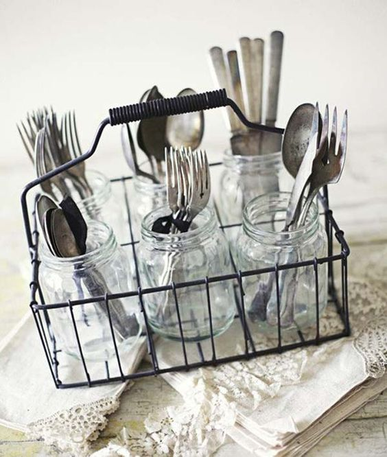Milk Bottle Holder Turned Silverware Holder