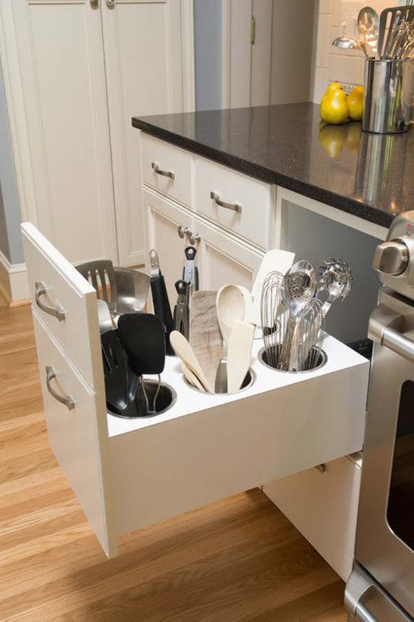 Clever Hidden Utensil Caddies.