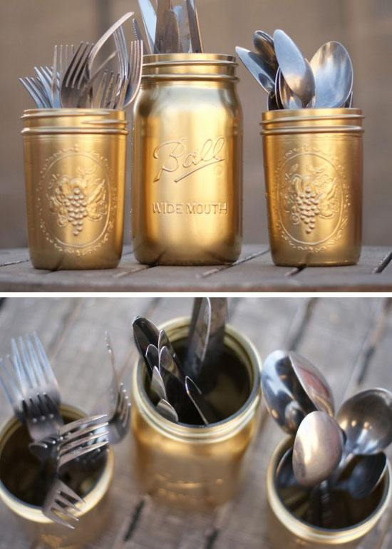 DIY Gold Painted Silverware Mason Jars.