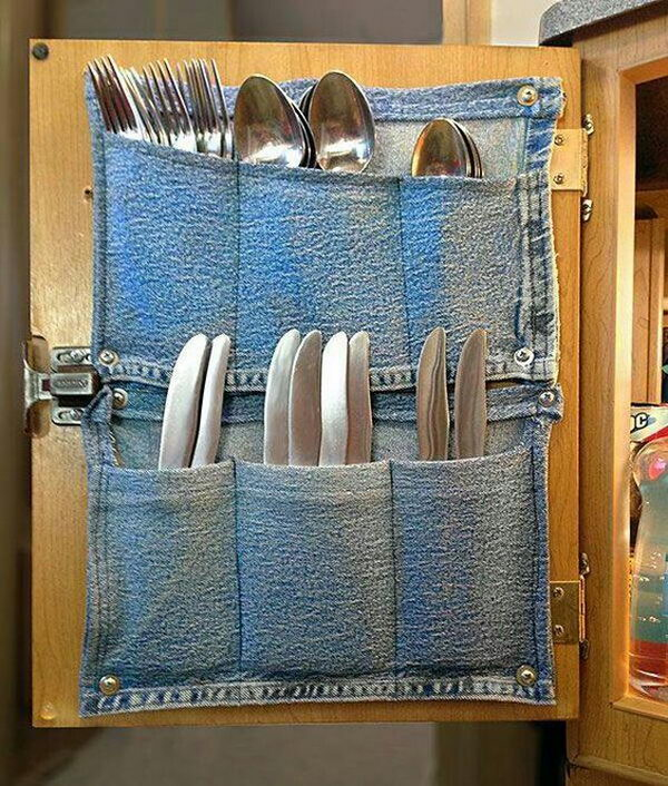 Awesome Jeans Pockets Turned Into Silverware Storage