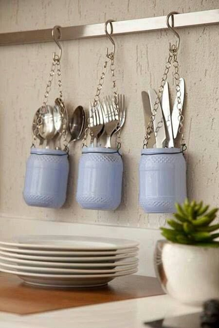 Hanging Kitchen Utensil Holders Using Mason Jars.