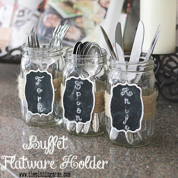 Chalkboard & Jute Silverware Holders.