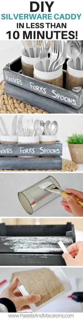 DIY Tin Can Silverware Caddy.