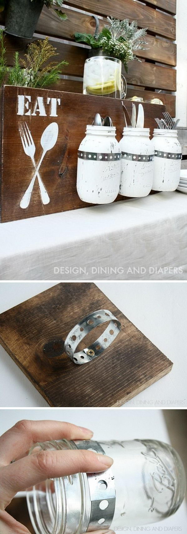 DIY Silverware Holder Using Mason Jar And Wood.
