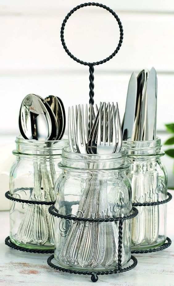 Merveilleux Glass Mason Jar 3 Sectional Flatware Caddy