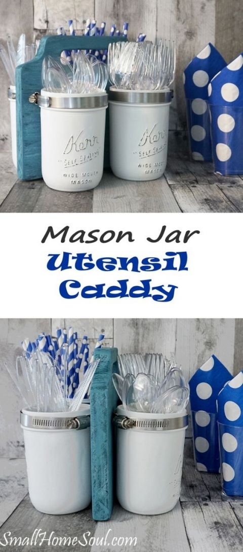 Mason Jar Utensil Caddy.