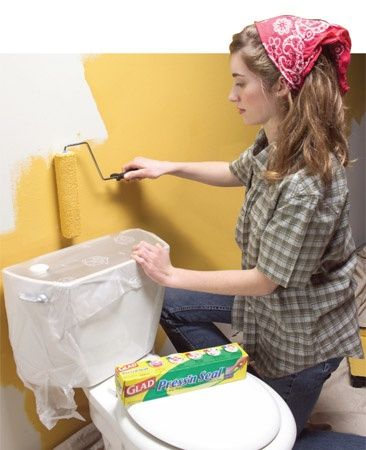 Use Plastic Wrap Instead Of Taping Everything When Painting.