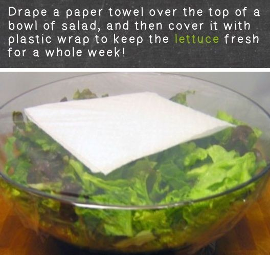 Simply Place A Single Paper Towel On Top Of Lettuce In A Bowl And Cover With Plastic Wrap To Avoid Limp Lettuce.