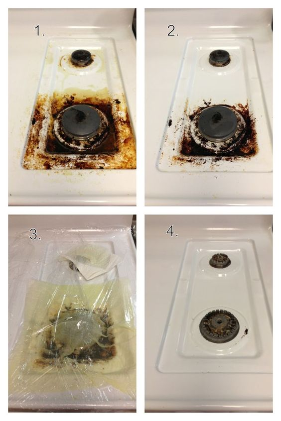 Clean Stove Top With Ammonia And Plastic Wrap.