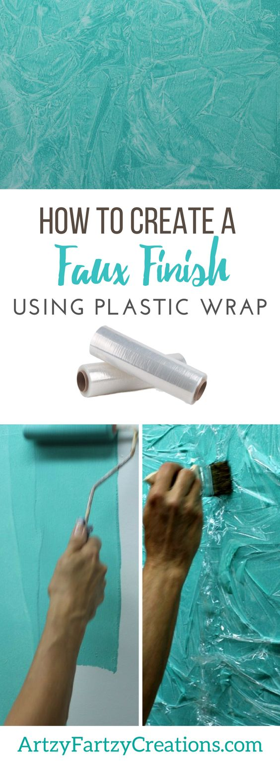 Create A Faux Finish Using Plastic Wrap.