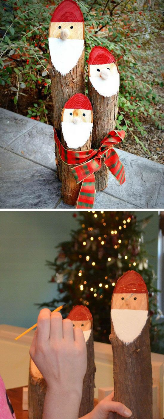 Paint Santas From Logs.