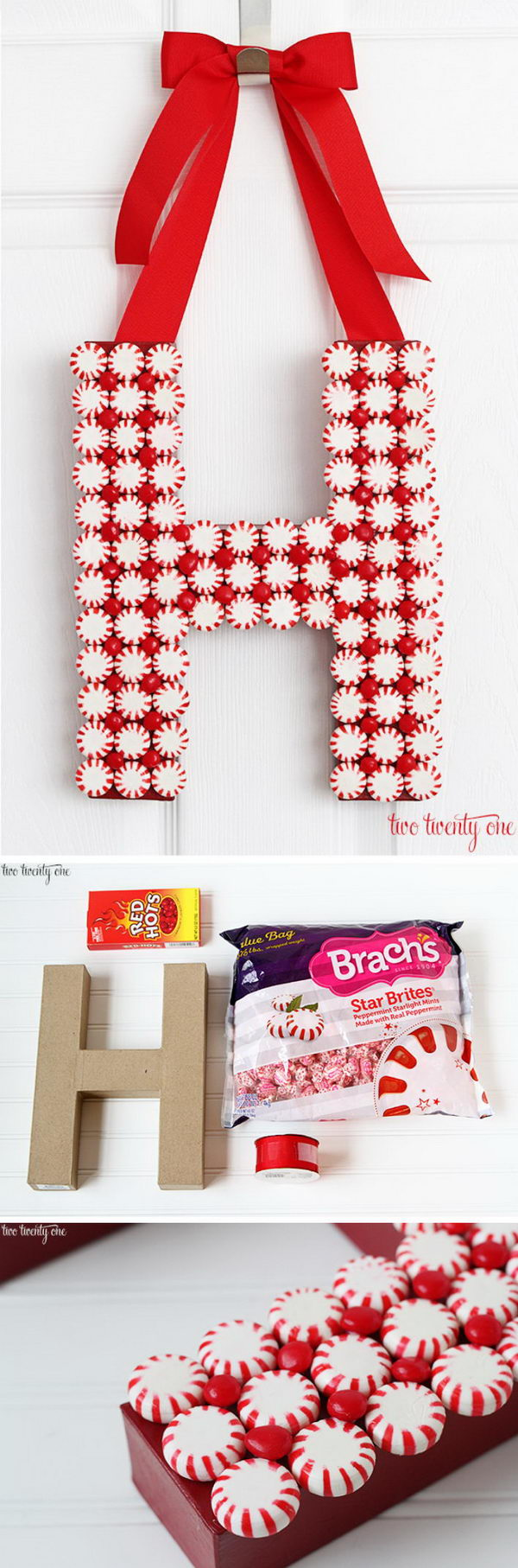 DIY Peppermint Monogram Wreath.
