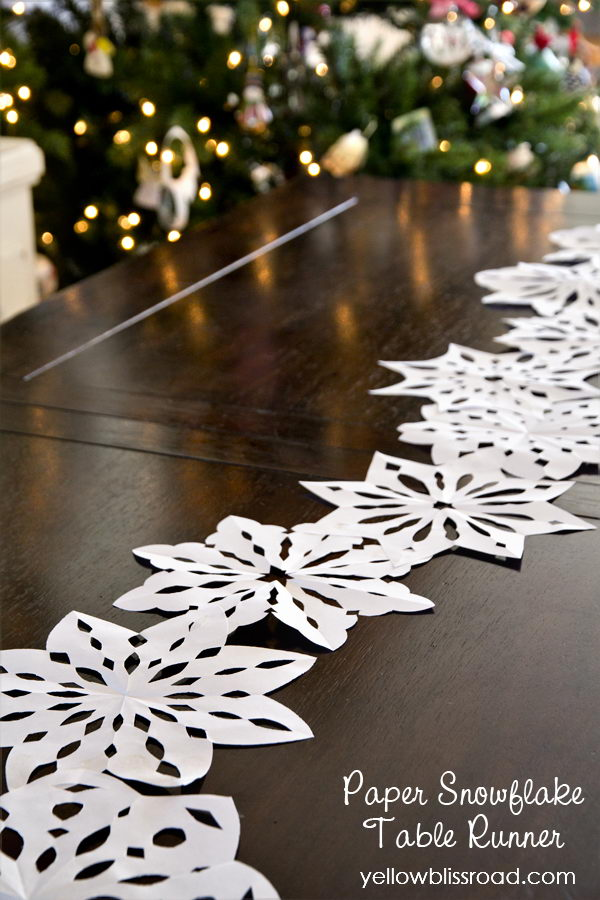 DIY Paper Snowflake Table Runner.