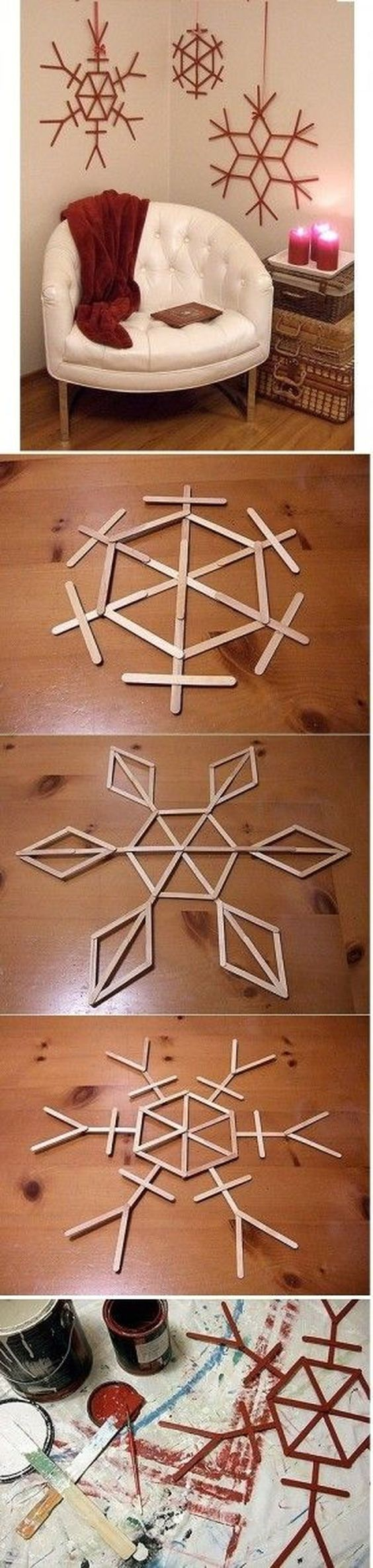 Make Popsicle Snowflakes.