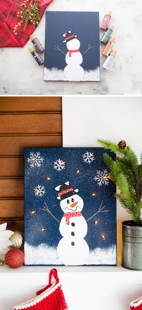 DIY Lighted Snowman Canvas.