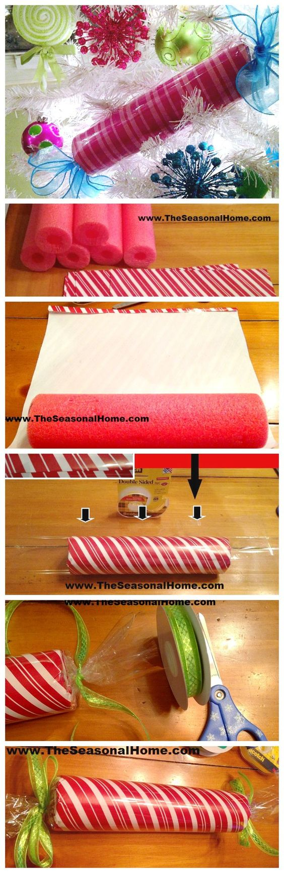 Make Large, Faux Christmas Candy Decorations Using Pool Noodles.