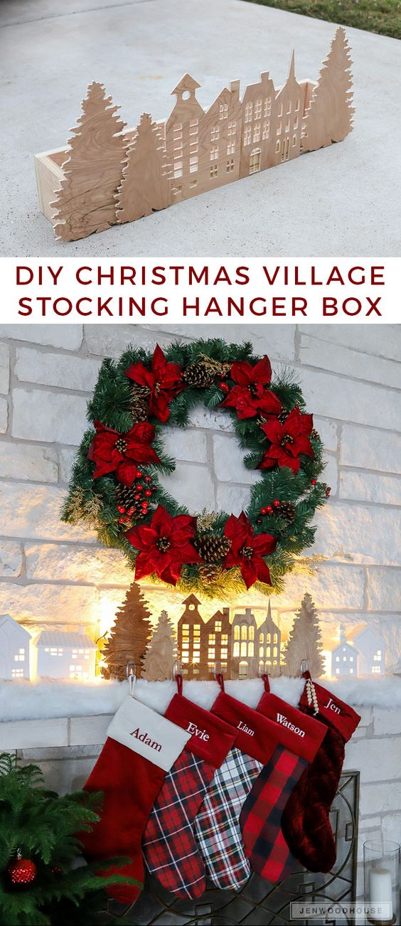 DIY Christmas Village Silhouette Stocking Hanger Box.