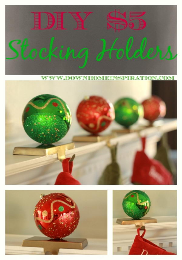 DIY $5  Christmas Ornament Decorated Stocking Holder.