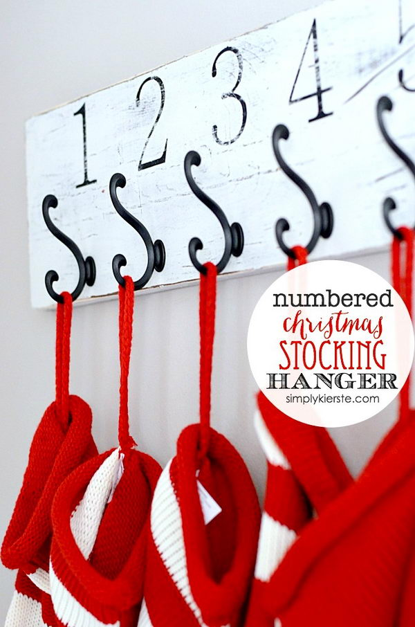 DIY Rustic Numbered Wall Mounted Stocking Holder.