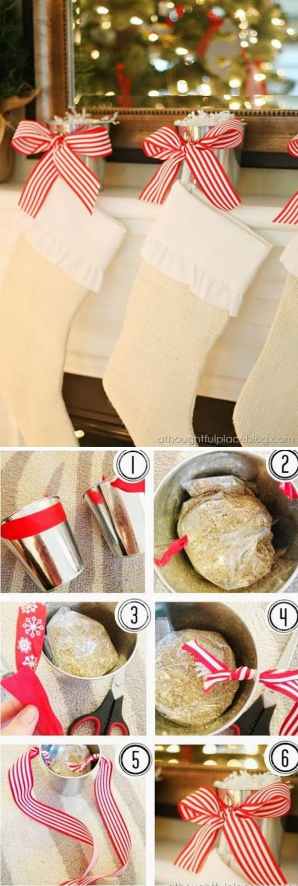 Cute DIY Stocking Holder Made With Tin Pails.