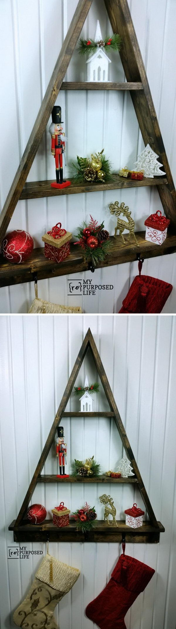 DIY Christmas Tree Shelf Stocking Holder.
