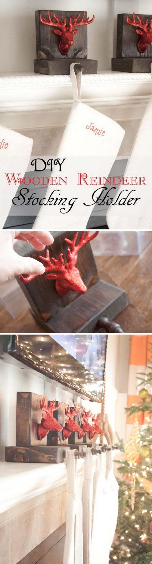 DIY Wooden Reindeer Stocking Holders.