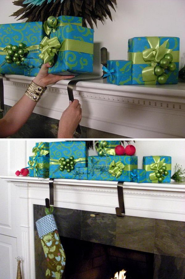 Wrapped Gift Stocking Holders.
