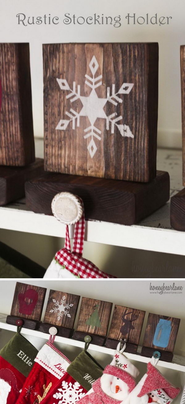 DIY Rustic Stocking Holders.
