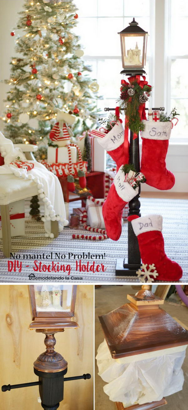 Creative Lantern Topped Stocking Holder.