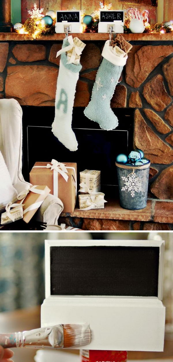 DIY Chalkboard Stocking Hangers.