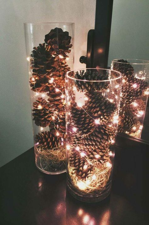 Light Up Pine Cone Filled Dollar Store Vases Centerpiece.