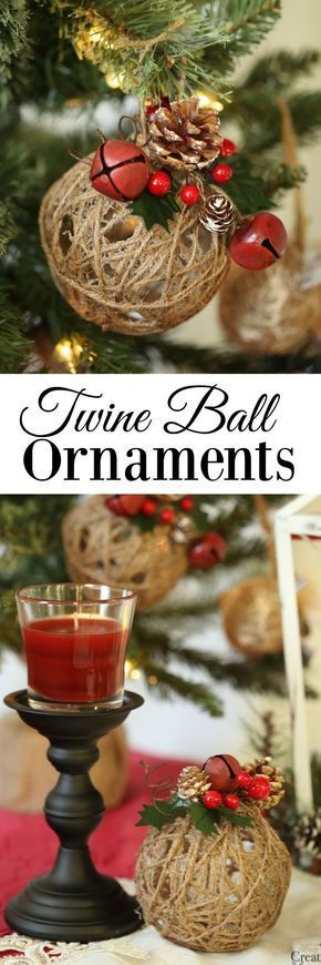 glitter twine ball ornaments - Rustic Christmas Ornaments