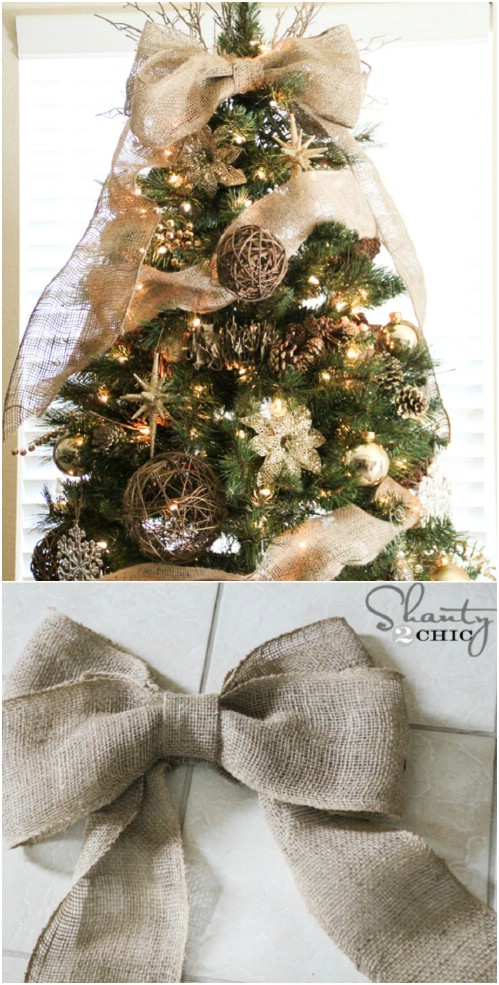 burlap bow tree topper - Rustic Christmas Decor