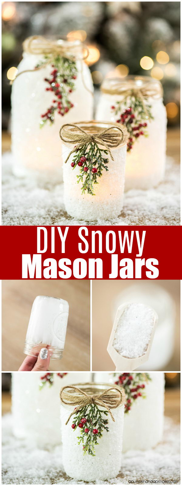 DIY Twine Decorated Snowy Mason Jars.