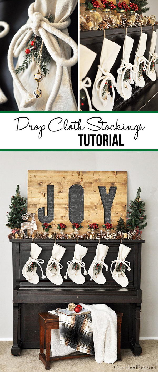 DIY Drop Cloth Stockings.